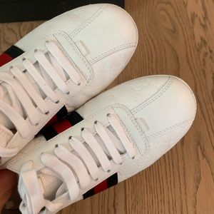 Gucci Shoes - Gucci GG printed white leather Women's sneakers